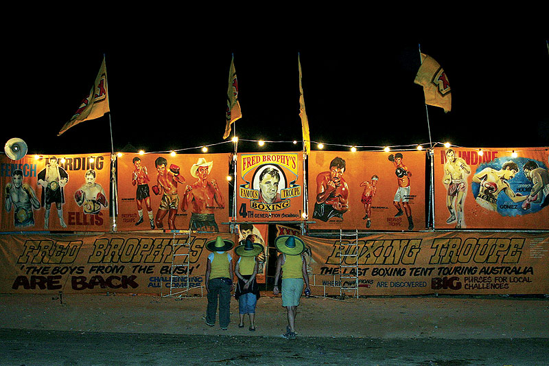 Fred Brophy's famous boxing tent.