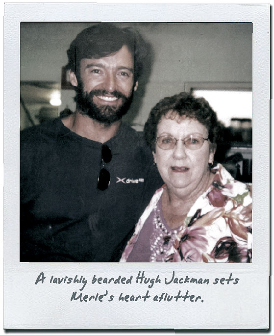 A lavishly bearded Hugh Jackman sets Merle's heart aflutter
