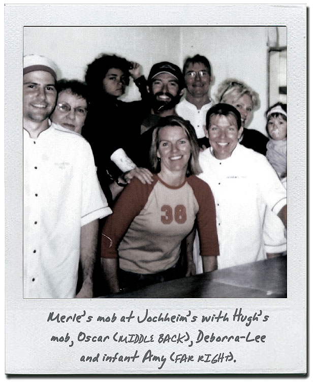 Merle's mob at Jochheim's, with Hugh's mob Oscar (middle back), Deborra-Lee and infant Amy (far right).