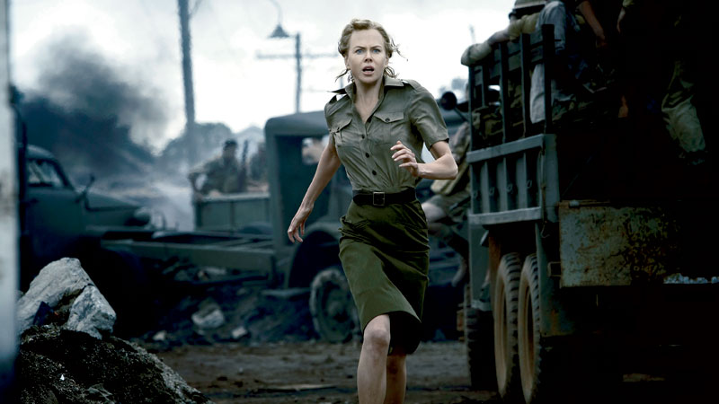 Our Nic' flees the bombs in Darwin (aka Bowen). Image courtesy of 20th Century Fox.