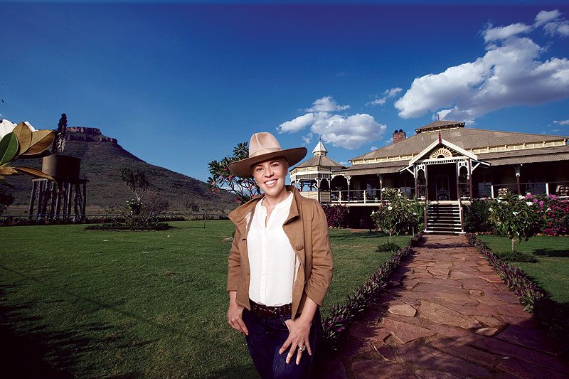 The house that Baz built. Chief production designer for Australia and two-time Academy Award-winner Catherine Mrs Baz Martin is seen here on location near Kununnura in far northwest WA. A walkthrough section of Faraway Downs is being exhibited at the ACMI in Fed Square from Dec 08