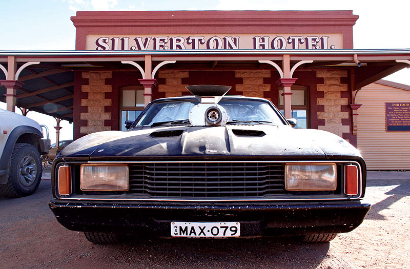 Mel's Interceptor retains pride of place outside the Silverton Hotel. Image by Stuart Hamilton.