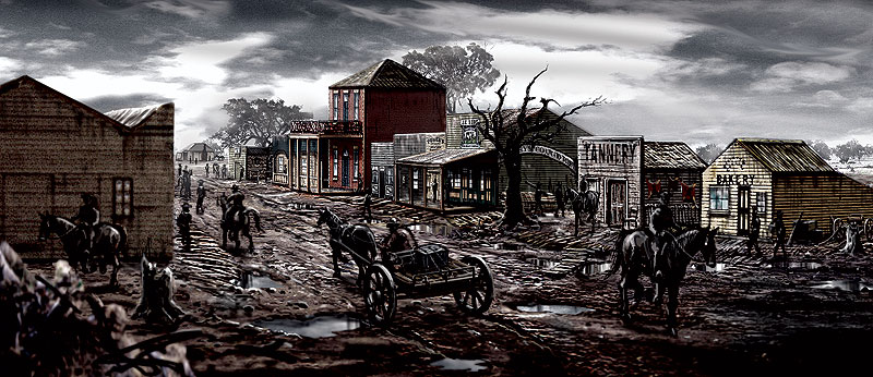 A sketch of the rebuilt township of Greta for the �03 Ned Kelly, part of a film design exhibition at Melbourne�s ACMI