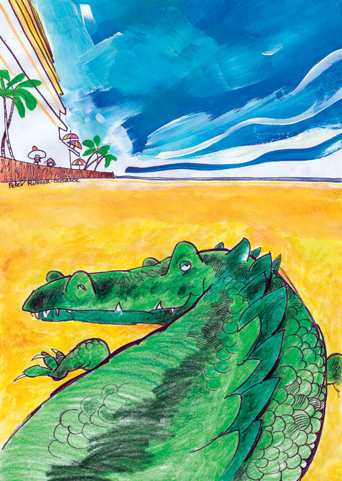 Never smile at a crocodile - especially if he's intent on hogging an entire Darwin beach all to himself . . . Illustration by Peter Russell-Clarke
