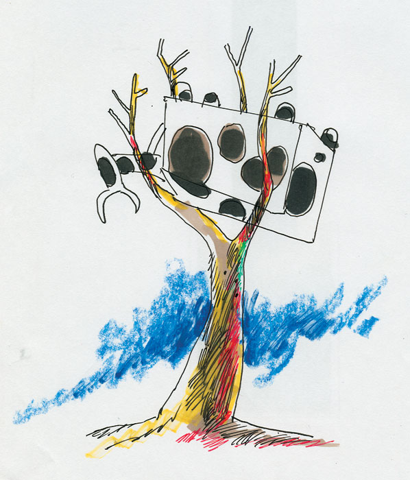 An upside-down beach clearing tree-cow. Illustration by Peter Russell-Clarke