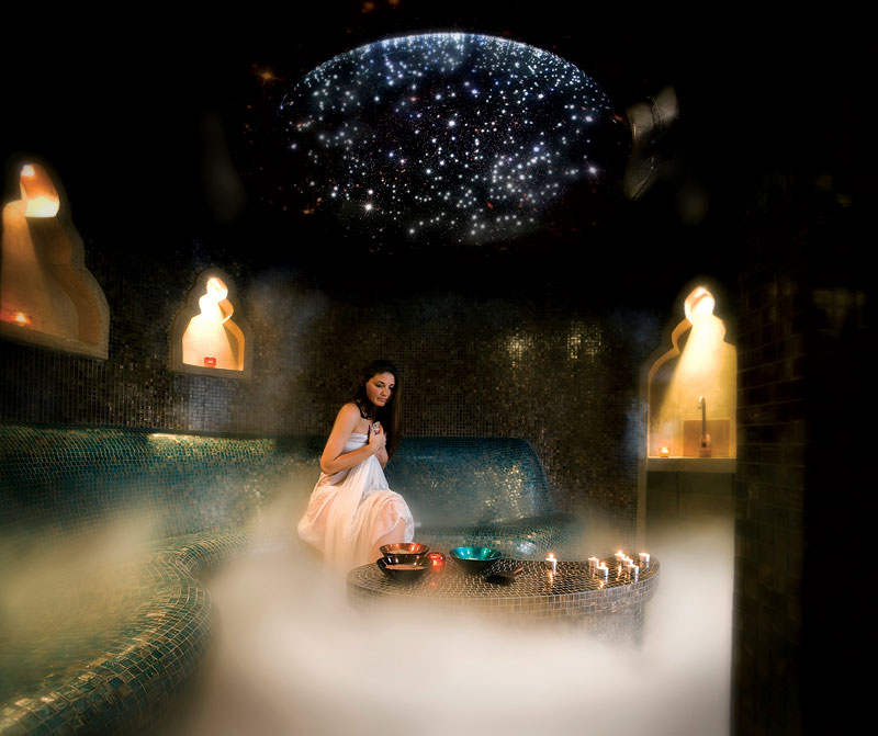 The ambient glow of Stephanie's Spa Retreat. Image by Sofitel Brisbane