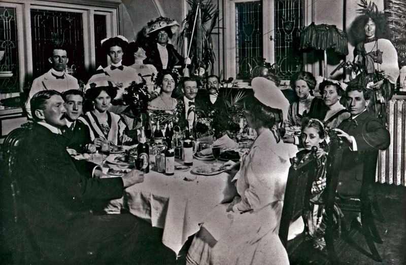 A fascinating image of a 1910 Hydro Majestic staff ball, with then owner Mark Foy at centre rear wearing his wife's hat. For the Hydro Majestic, grisly murder was but a few years away. Image by Blue Mountains City Council.