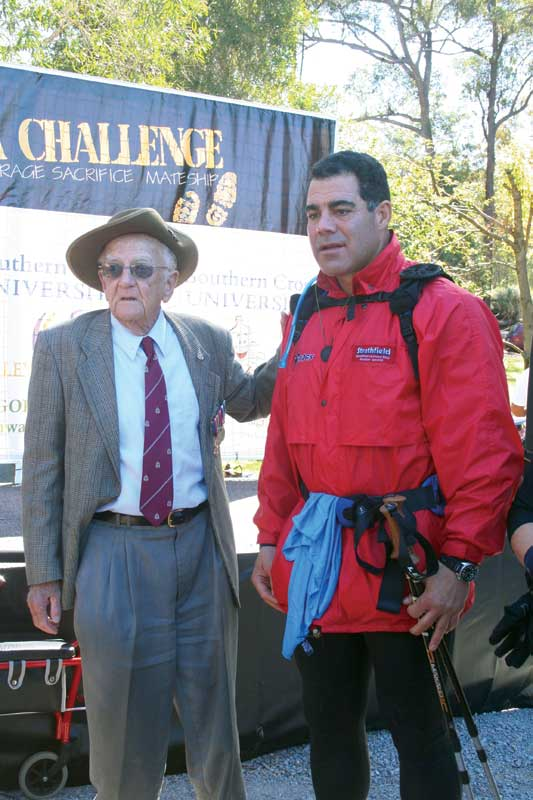 Living legends: Jim Stillman, veteran of the 39th Militia (first Aussies to reach Kokoda); and Mal Meninga, Image by Kokoda Challenge Association