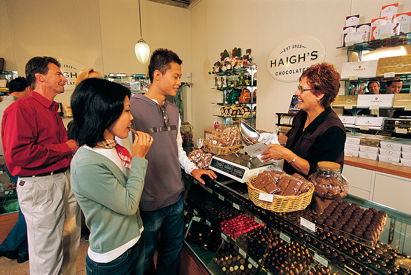 Free tastings at Haigh's Chocolates on Adelaide.Image by SA Tourism Commission.