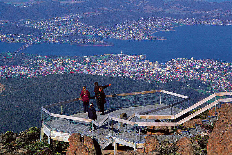 A panoramic view of Hobart from Mt Wellington. Image by Tourism Tasmania.