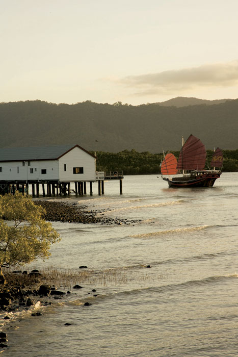The Shaolin Junk, hovering just offshore from the Port Douglas Shipwreck Museum. Image by Tourism Qld