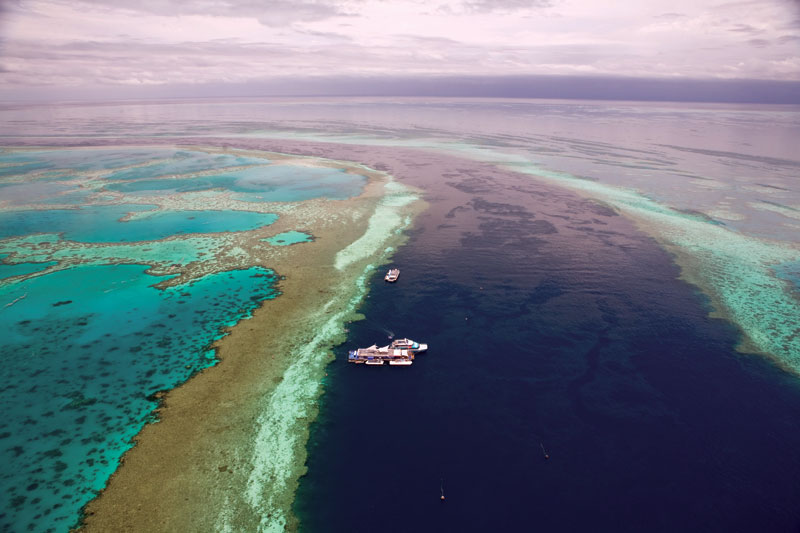 The enormous permanently moored Reefworld at iconic Hardy Reef. Image by Tourism Qld
