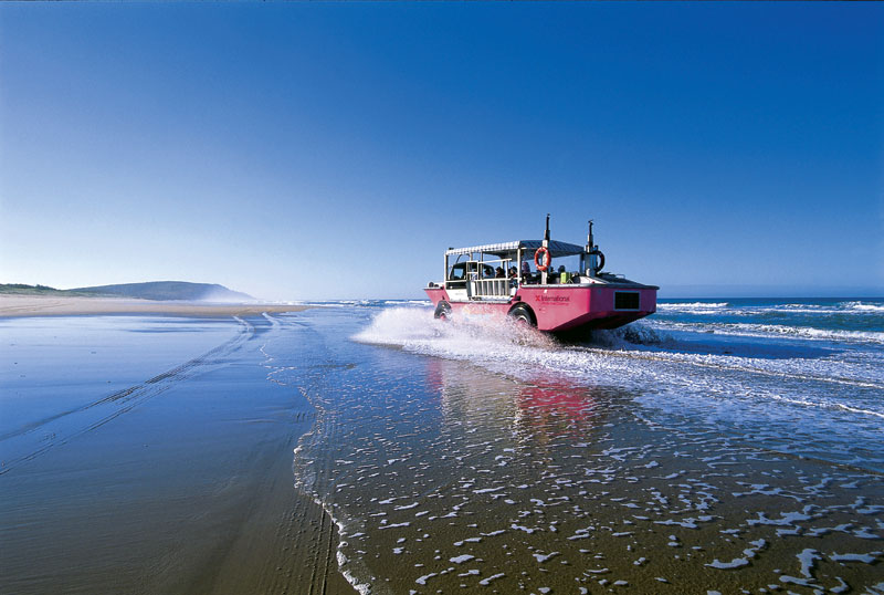 A spot of not-so-tranquil tearing around in a LARC along the beaches of 1770. Image by Tourism Qld
