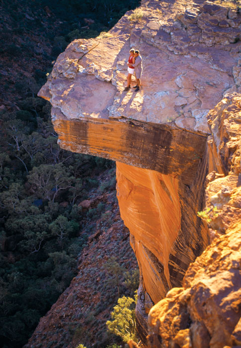 Step to the edge if you dare! Kings Canyon's drops are spectacular. Image by Tourism NT
