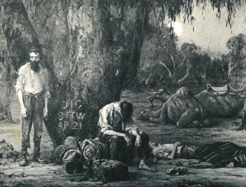 Burke and Wills at the Dig Tree, painted by Sir  John Campbell Longstaff  in the late 1800s.