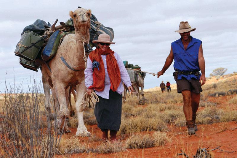 Solo trekker Robyn Davidson and Andrew Harper on the Western Simpson Desert Trek. Image by www.cameltreks.com