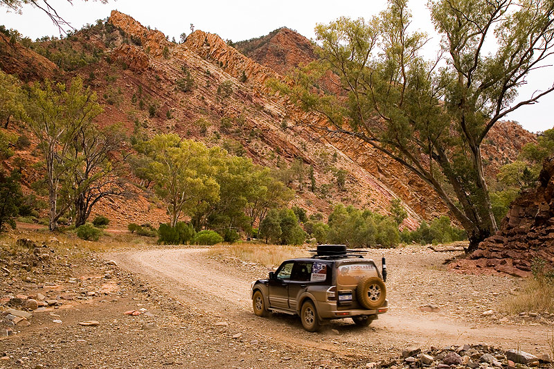Travelling in a luxury 4WD through the Flinders. Image by Grenville Turner