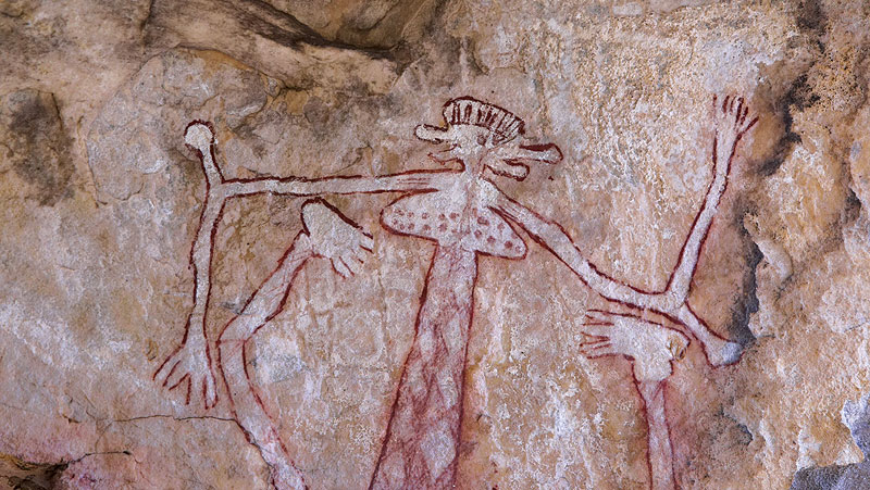 Rock art at Mt Borradaile, through Davidson's Arnhemland Safaris. Image by Tourism NT
