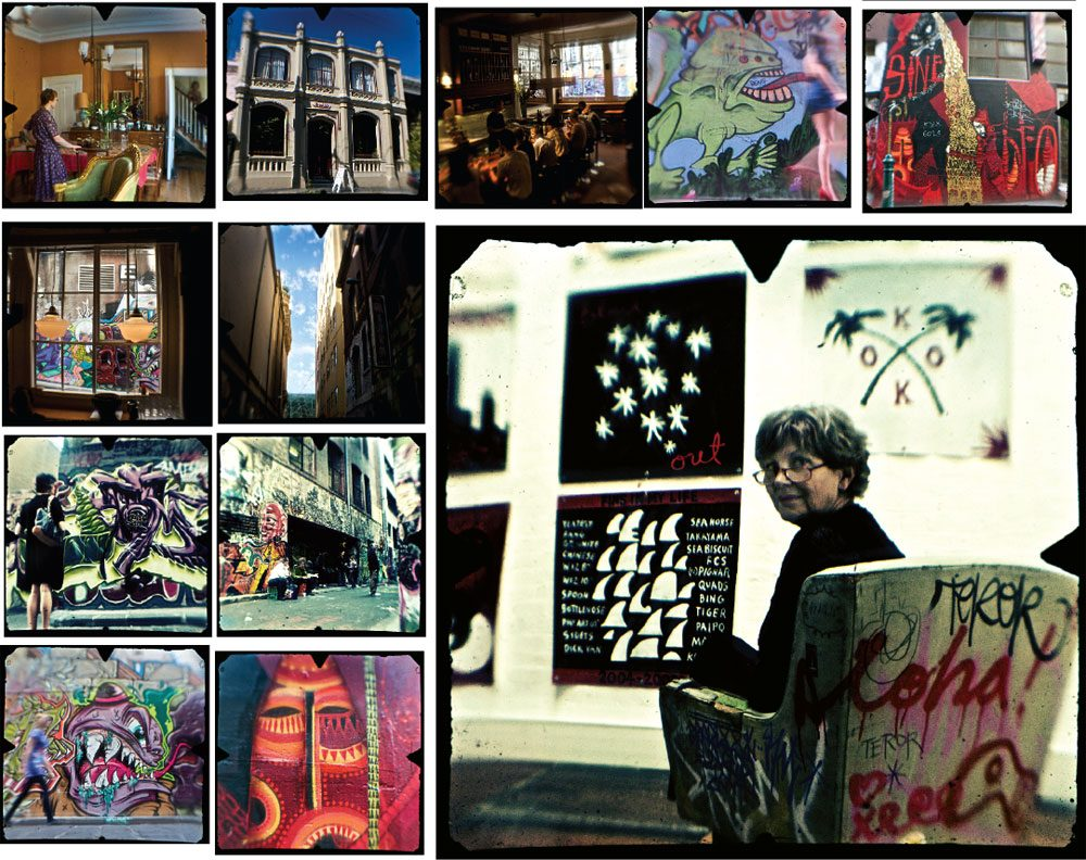 From the high graffiti traffic in Hosier Lane (LEFT CLUSTER), to the outside/inside space of Until Never, presided over by Louise Kelsey (LARGER PIC RIGHT). Images by Professor Dirk HR Spennemann