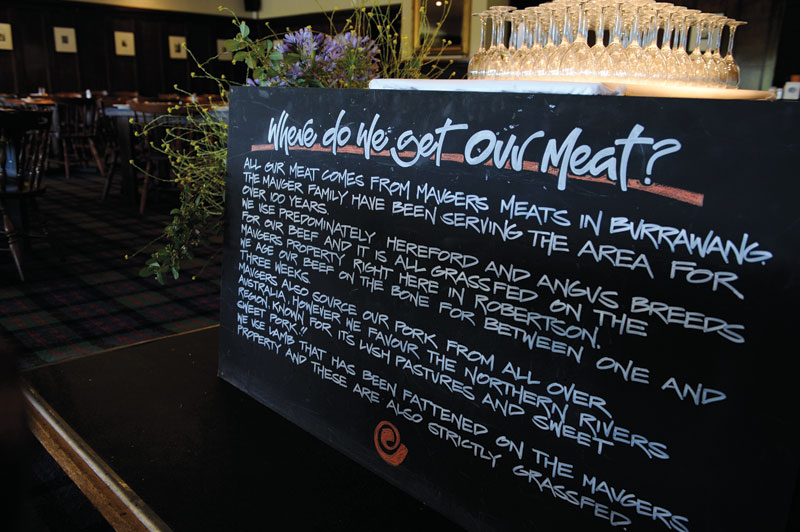 The Inn sources its meats from nearby Burrawang, and the steaks are grass fed and raised, finished on grain and dry aged. Image by Terry Muller- Maher, Sutton Forest Inn