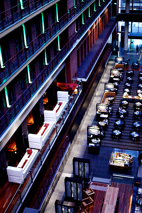 The sublimely restored InterCon Rialto on Collins St encloses a laneway within its restaurant/bar area.