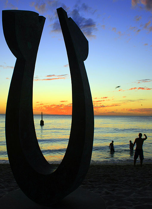 AT Reader Richard Goodwin at Cottesloe Beach, WA for the Sculptures by the Sea exhibition