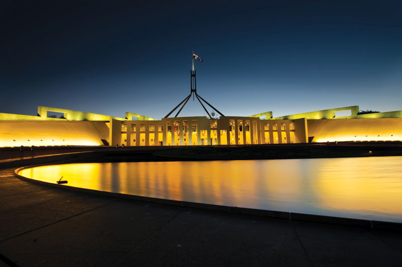 Parliment House at night -- image courtesy of Sladjan Sam Ilic (Stage 88 Photography)