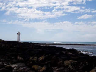 The circa 1859 Griffiths Island lighthouse on the Moyne River, Port Fairy -- image by Leanne Nelson