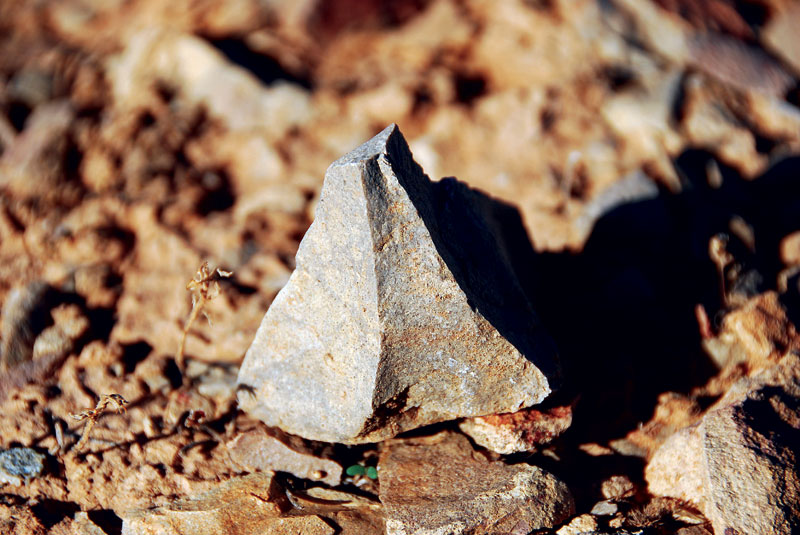 Core and debitage flakes are frequently found scattered around Lake Mungo National Park. These were commonly used as tools by Aboriginals inhabiting the area centuries earlier. Image by Dirk Spennemann