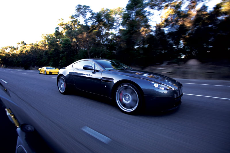 Zooming through the Blue Mountains in an Aston Martin V8 Vantage as part of an Octane Supercar Event. Image by Rob Gordon