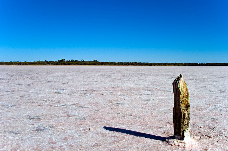 AT Reader Nick Grundy at a pink salt lake in Western Victoria