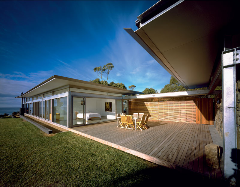 An airy construct of glass and steel on an ocean-fronted hilltop along the wild and woolly Freycinet Peninsula.