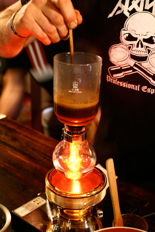 A Japanese Siphon, one of the latest weapons in Melbourne's coffee war.