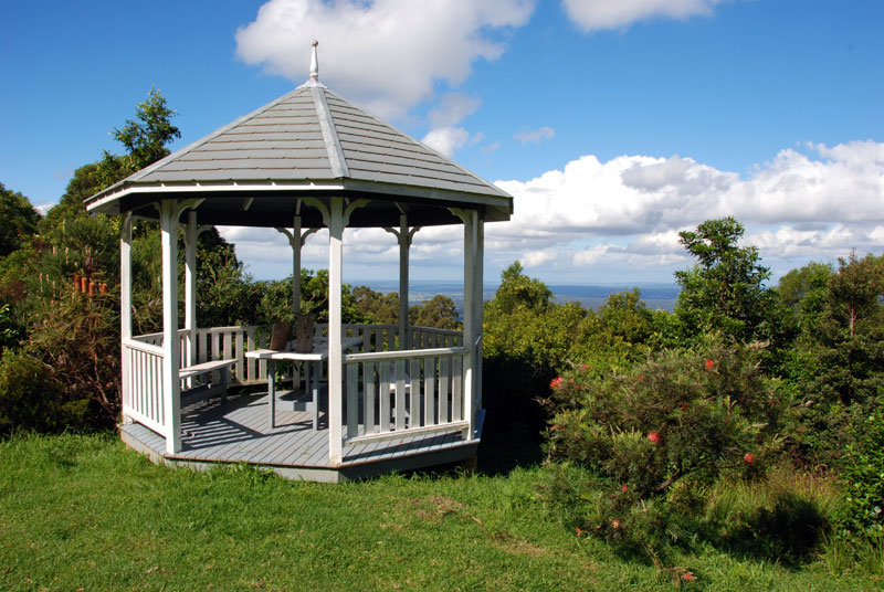 A gazebo with views out to the coast.