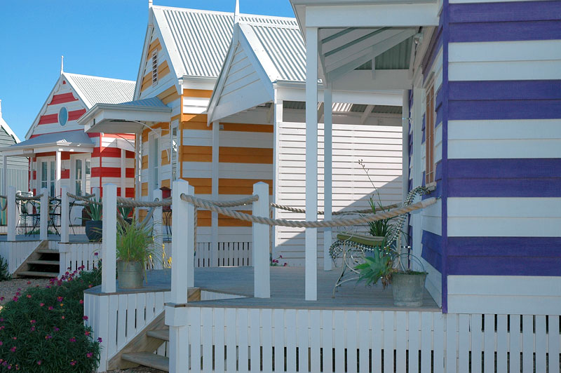 This too-cute-for-words outfit consists of 12 spacious, self-contained and beautifully decorated beach huts.