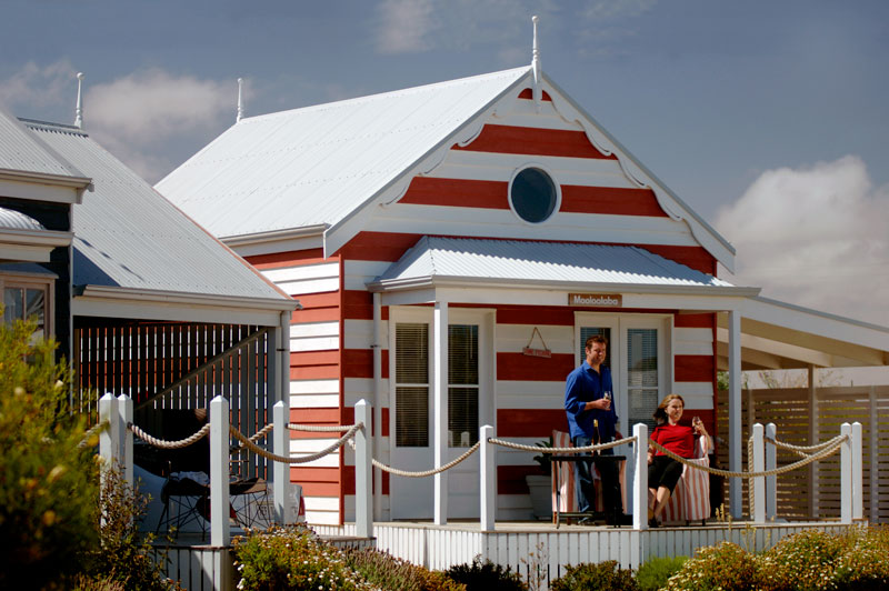 Named after 12 famous Australian beaches, each hut has a seaside theme but with differing décor.