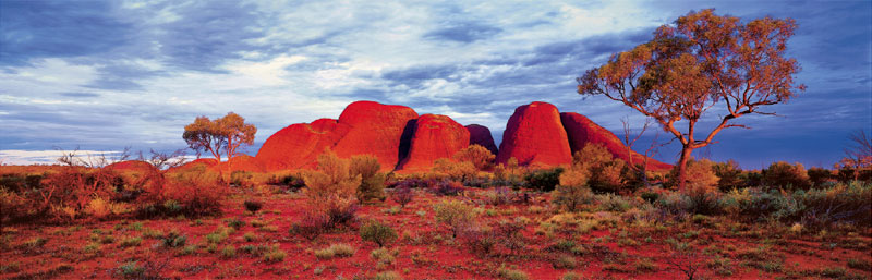 Sunset at Kata Tjuta:  '. . . nowadays 98 percent of Kata Tjuta is restricted and inaccessible'
