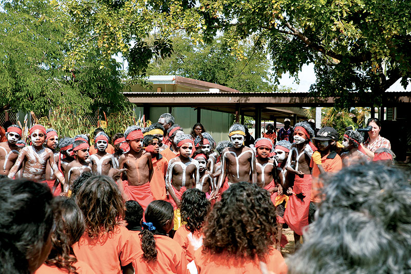 Students from the remote Yirrkala Community Education Centre lead the dancing at Garma 2007. Image by Xavier Jefferson