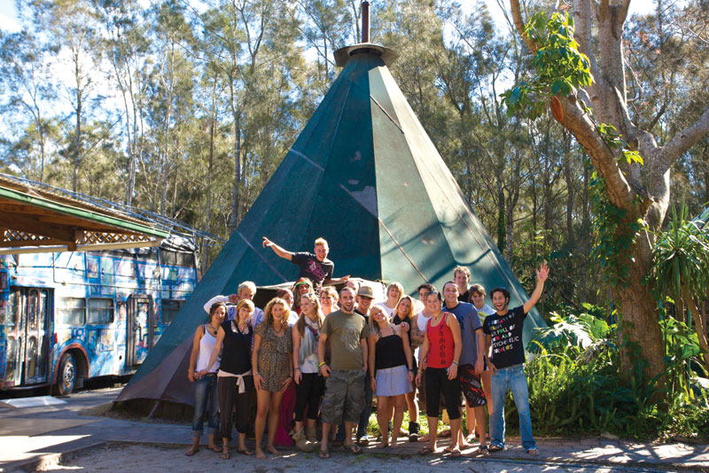 Giant Tee Pee action at the Arts Factory Lodge in Byron Bay