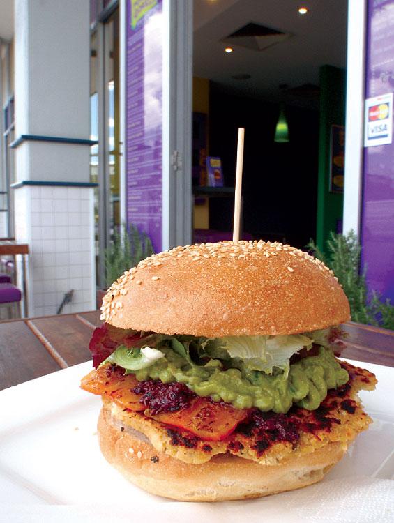 A sensational Vegetarian Sensation burger from Purple Gorilla.
