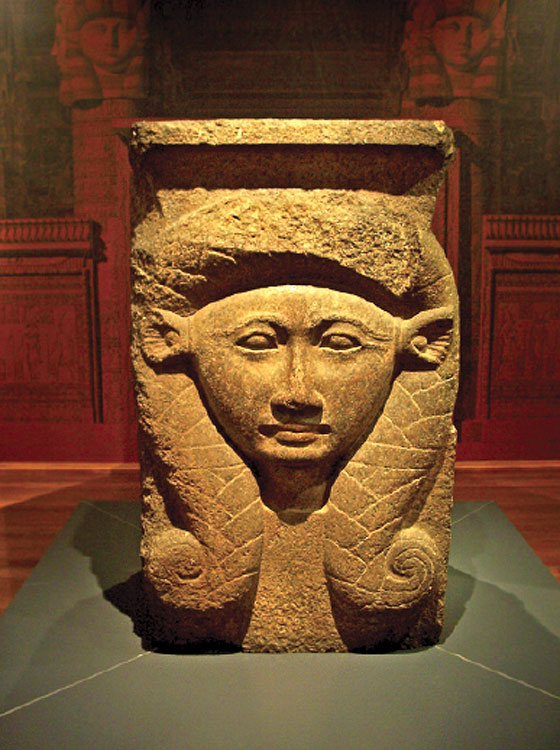 A 900BC Hathor-head column from Northern Egypt, now in the Nicholson Museum at Sydney Uni.