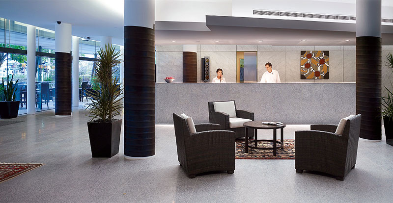 Urban Brisbane's modern, light-filled lobby.