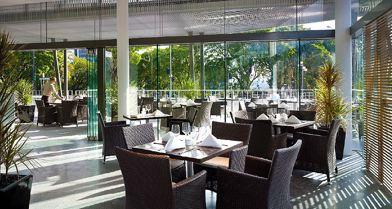 Glass and light in Urban's alfresco restaurant make it popular with visitors and locals