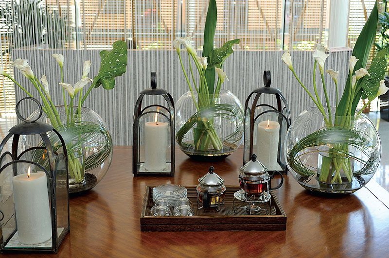 Soothing herbal tea greets guests on arrival.