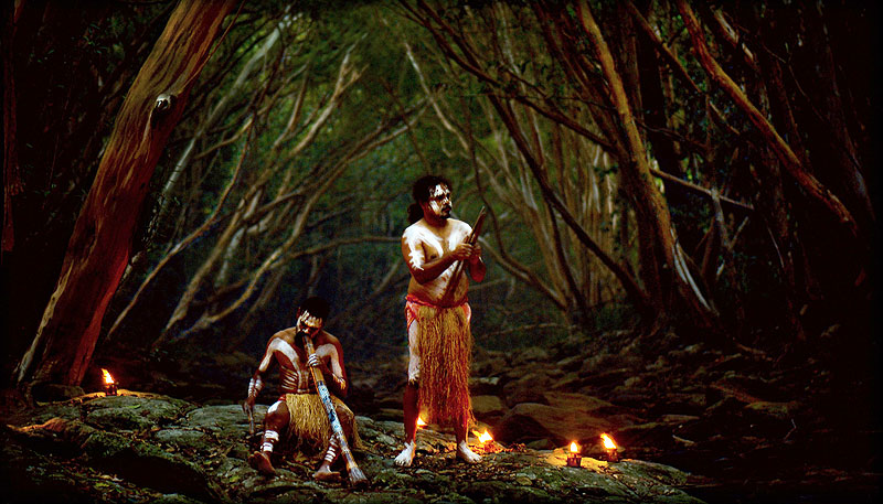 At Flames of the Forest, the Aboriginal cultural performance by Gary and Robert Creek follows a six-course banquet with storytelling and didgeridoo performances.