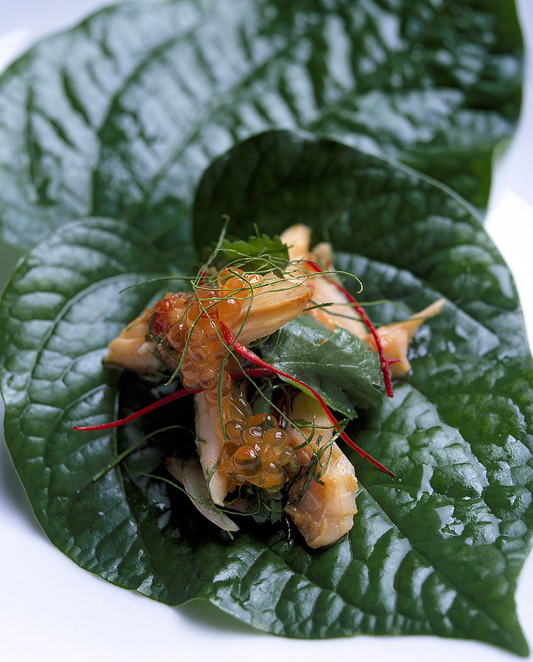 The most popular dish the betel leaf with smoked trout