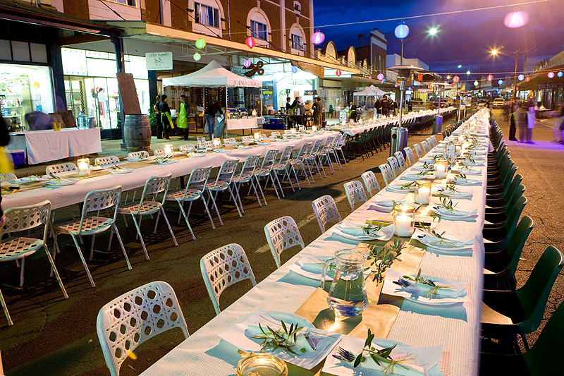 Returning for its second year is the 100-mile dinner: in Canowindra, just down the road from Orange, long lantern-lit tables are set up on the main street for a gala dinner, with everything on the menu originating from within 100 miles of your plate.