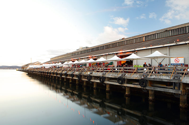Between Christmas and New Year, the Hobart waterfront opens up for what is effectively a huge tasting market.