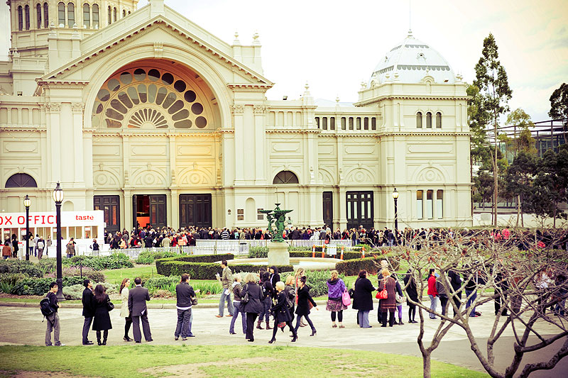 Money is exchanged at the door for Crowns, the festival currency you cash in at stalls inside Carlton's Royal Exhibition Building.