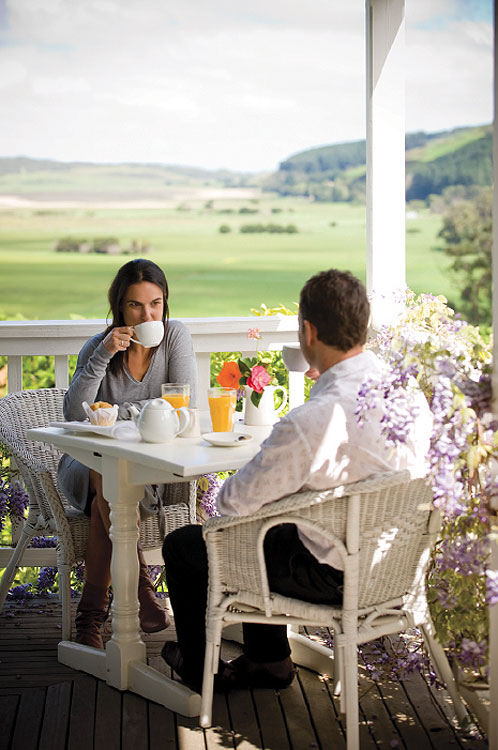 Breakfast on the balcony overlooking the Aire Valley.